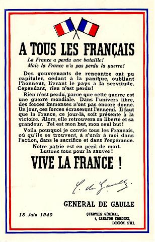 Discours du Général de Gaulle 18 juin 1940